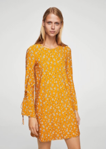 Robe jaune à fleurs Mango